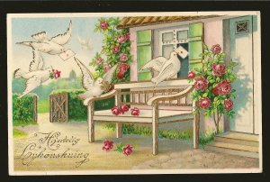 Dated 1915 Bergen Norway Embossed Color Christmas Postcard
