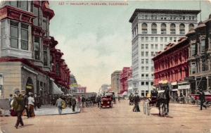 Oakland California~Broadway~Owl Drugs~Pierce~Santa Fe~Horse Carriage~People~1910