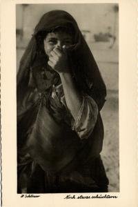 libya, Young Native Arab Girl, Still a little Shy (1940s) H. Schlösser Photo