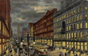 PHILADELPHIA , Pa. , 1912 ; Market Street West from 8th Street at night