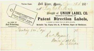 1871 Billhead, UNION LABEL CO., Patent Direction Labels, Fall River, MA