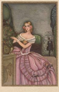 ART DECO ; Female wearing pink gown with white fur trimming, 1910-20s