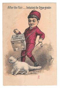 Victorian Trade Card Organ Grinder Cat Mathias Bros York PA