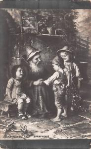 Poland Old Vintage Antique Post Card Children with Old Man Unused