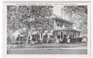 Lake Manor Greensboro North Carolina linen postcard