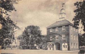 New Castle Delaware~Market Place And Town Hall~1930s Sepia Litho Postcard