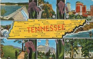 Tennessee Map Card Linen TN