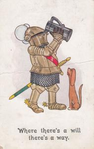Medieval Knight Getting Drunk In His Armour Old Comic Humour Postcard