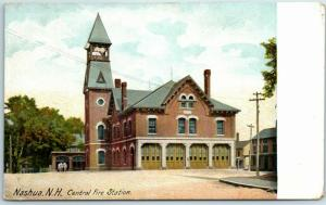 Nashua, New Hampshire Postcard Central Fire Station Horse-Drawn Engine c1900s