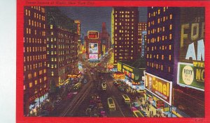 P1325 nice old postcard unused pepsi camel signs traffic time sq new york city