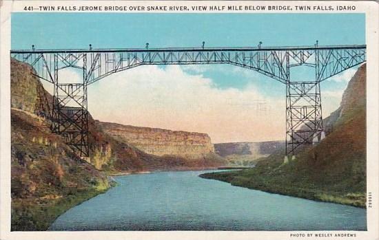 Twin Falls Jerome Bridge Over Snake River View Half Below Bridge Twin Falls I...