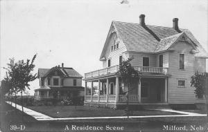 Milford Nebraska~Residence Street~2 Big Homes~ESP Owns Second One~1908 RPPC