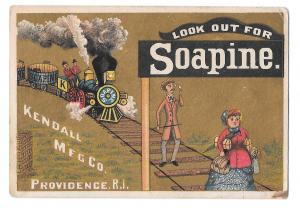 Victorian Trade Card Soapine Charlotte Perkins Gilman Train on Gold Kendall Mfg