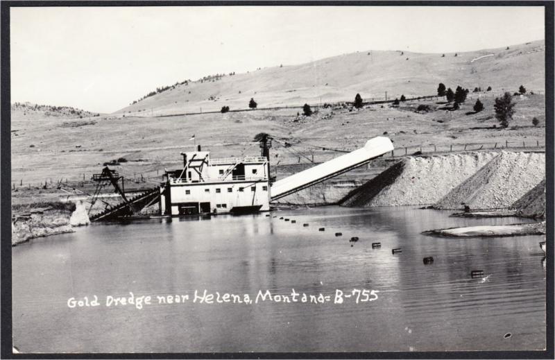 Helena Montana Gold Dredge 1940s Mining Real Photo Postcard