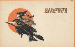 HALLOWEEN , 1900-10s ; Witch on Broom Stick