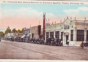 P1274 old unused postcard street view old cars grauman,s egyptian theatre calif