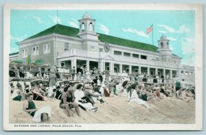 Palm Beach Florida~Beach Bums in Sand~Flappers in Front of Casino~1920s Postcard