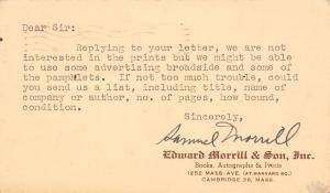 Cambridge Massachusetts~Edward Morrill & Son~Books Autographs Prints~1949 Postal
