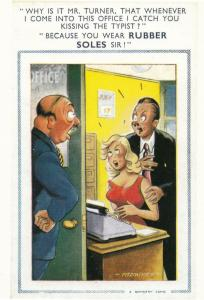 Rubber Sole Shoes Eavesdropping Peeping Tom Office Comic Humour Postcard