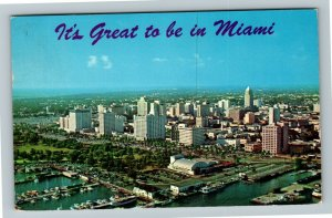 Miami FL- Florida, Aerial View of Miami Skyline, Chrome c1956Postcard