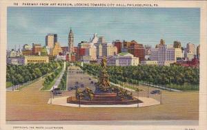 Pennsylvania Philadelphia Parkway From Art Museum Looking Towards City Hall