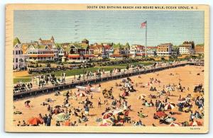 Postcard NJ Ocean Grove South End Bathing Beach & Boardwalk Vintage Linen  A10