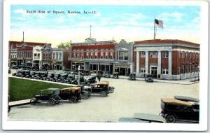 Newton, Iowa Postcard South Side of Square Downtown Street Scene Kropp c1920s