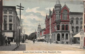 F53/ Mansfield Ohio Postcard 1910 4th Street West Stores Bank