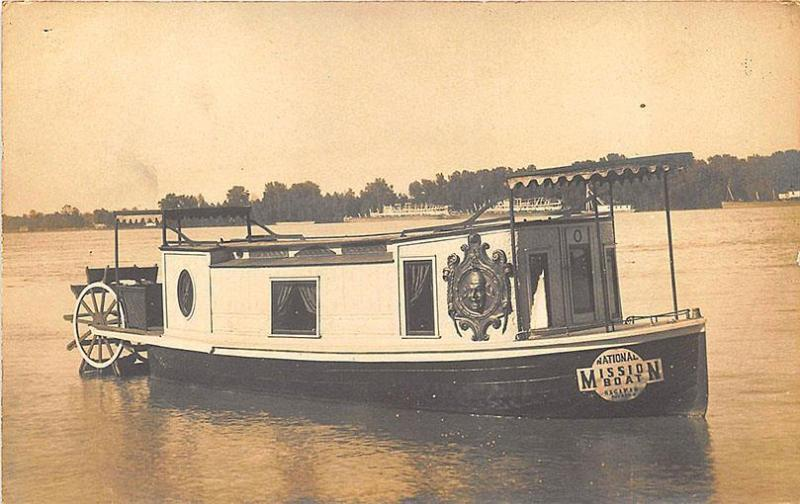 Toledo OH National Mission Boat RPPC Postcard