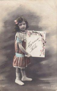 RP: BIRTHDAY, PU-1912; Joyeuse Fete, Little Girl Holding flowered sign