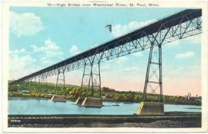 High Bridge over Mississippi River , St Paul , Minnesota, PU-1936
