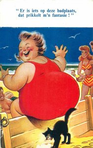 Postcard Comic advertising commercial cat under fat woman red dress