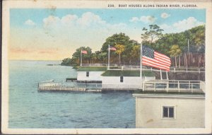 FANTASTIC view of boat houses along the INDIAN RIVER, 1920s