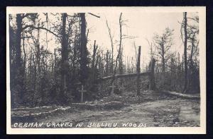 German Graves in Bellieu Woods RPPC unused c1915-1918