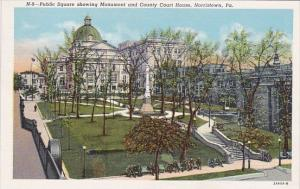 Pennslyvania Norristown Public Square Showing Monument and County Court House
