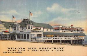 West Haven Connecticut Savin Rock Wilcox Pier Linen Antique Postcard K29857