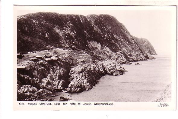 Rugged Coastline, Logy Bay Newfoundland, Real Photo