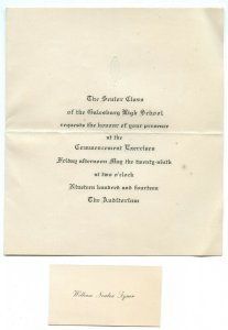 1914 Senior Class Galesburg High School Vintage Commencement Exercise Invitation