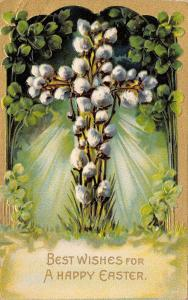 Easter~Pussy Willow Cross in Green Sunburst~Shamrock & Gold Border~Emboss~1907