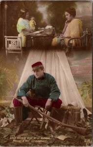 RPPC Tinted Postcard Romantic French WWI Soldier Souvenir Sweet Memory