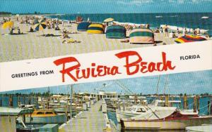 Florida Greetings From Riviera Beach Showing Beach Scene and Boat Basin