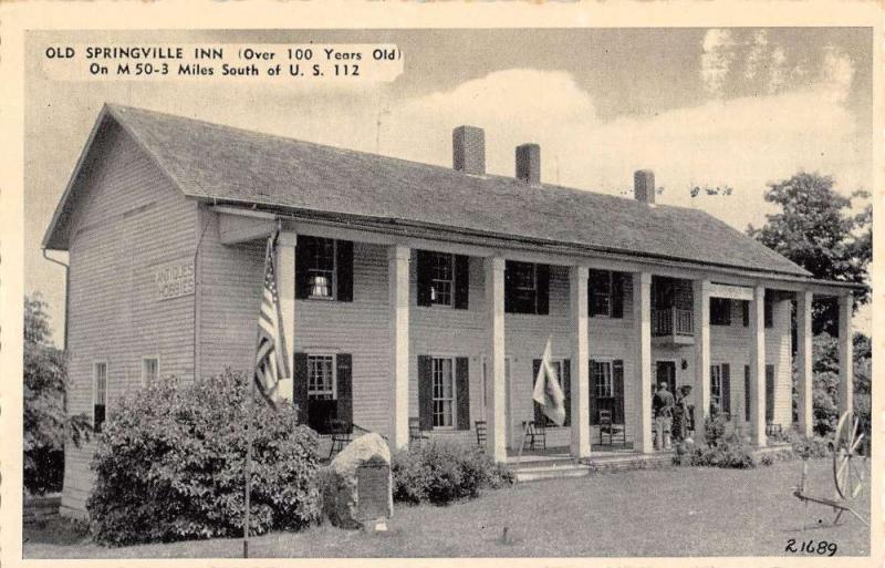 Irish Hills Michigan Old Springville Inn Street View Antique Postcard K58651