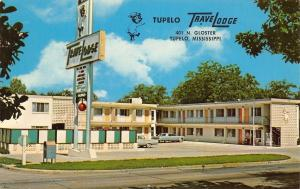 Tupelo Mississippi~TraveLodge Motel~Sleepwalking Bear Sign~1960s Cars~Postcard