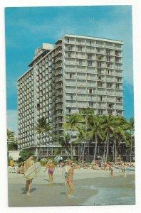 WAIKIKI, Honolulu, Hawaii, 1940-60s; Outrigger Hotel, Beachgoers