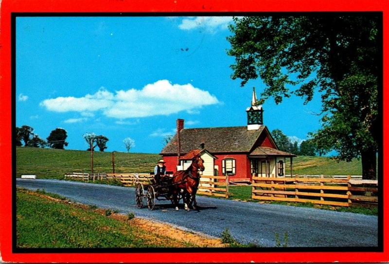 Pennsylvania Amish Country Horse and Buggy and Little Red Schoolhouse 1984