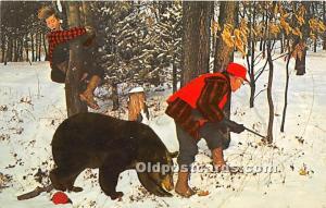 Old Vintage Hunting Postcard Post Card Stick with me, Bear Unused