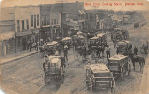 H75/ Bristow Oklahoma Postcard c1910 Main Street Stores Wagons  127