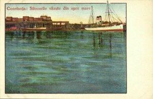 romania, CONSTANȚA, Silozurile văzute din spre Mare (1920s) Postcard
