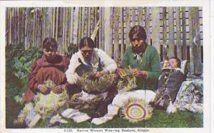 Alaska Native Women Weaving Baskets