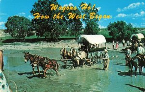 Postcard Covered Wagons Kansas